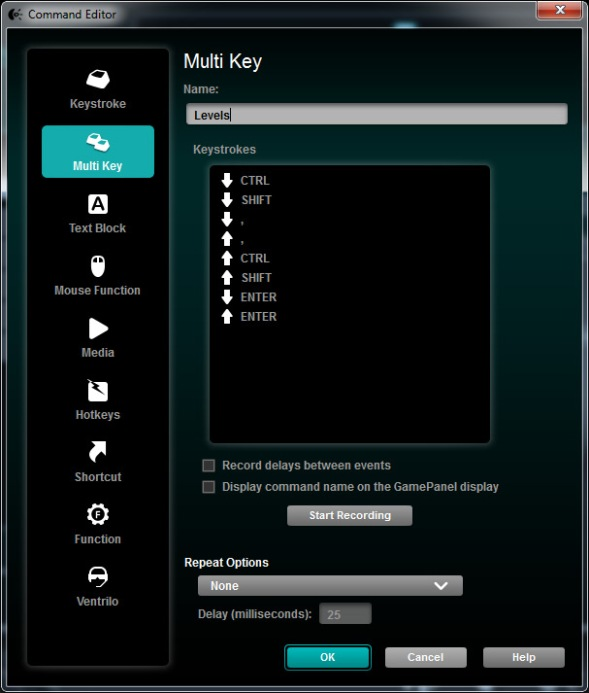 Logitech mouse key configuration