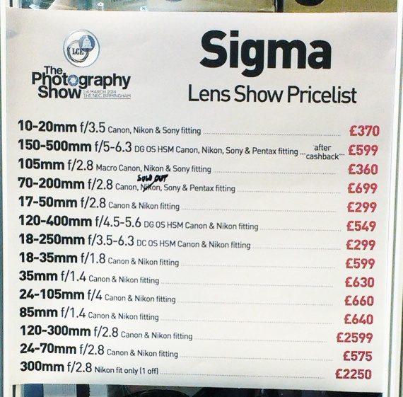 London Camera Exchange - Sigma Prices